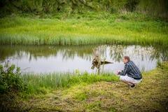 Man fishing Stock Photo