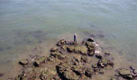 The man is fishing Stock Image