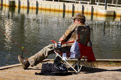 Man Fishing for Trout at Pandapas Pond Royalty Free Stock Photography