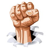 Man Fist. Struggle Hand break through white background. Vector Illustration Stock Images