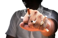 A man fist full with cigarette Royalty Free Stock Photos