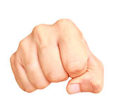 Man fist. Lsolated on white background stock images