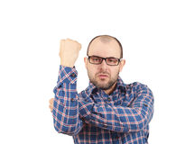 Man fist raised menacing threat. emotions. And people concept. isolated on white background Stock Photo
