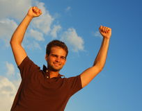 Man with Fists in the Air Stock Photos