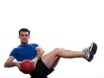 Man fitness ball Worrkout Posture exercise. Man holding fitness ball Worrkout Posture exercise abdominals workout posture on studio  white background Stock Image