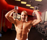 The man in fitness centre Stock Image