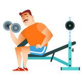 Man fitness muscle workout dumbbells. In the gym mustached man plays sports. Holding a dumbbell. Weightlifting, fitness, health vector illustration