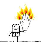 Man with five burning fingers. Hand drawn cartoon characters Royalty Free Stock Photos