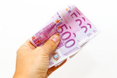 Man with five hundred bank notes in hand Royalty Free Stock Photo