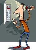 Man fix electricity cartoon illustration Royalty Free Stock Image