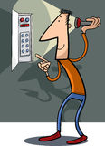 Man fix electricity cartoon illustration Royalty Free Stock Image