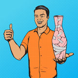 Man fixed vase with duct tape pop art vector Stock Photography
