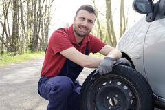 Man fixing a car problem royalty free stock photos