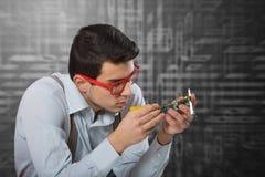 Man fixing the electronic card Stock Photos