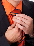 Man fixing his tie Royalty Free Stock Image