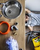 Man fixing kitchen sink alone at home royalty free stock photo
