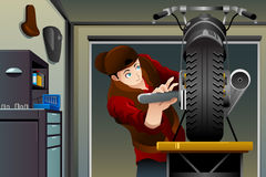 Man fixing a motorcycle. A vector illustration of man fixing a motorcycle in the garage Stock Images