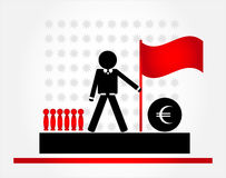 Man with flag. On pedestal Stock Images
