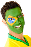 Man with flag of Brazil Stock Photo