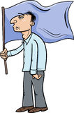 Man with flag cartoon illustration Stock Images