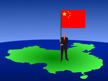 Man with flag of China Stock Images