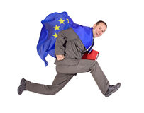 Man with the flag EU. Running man with the flag of the European Union Royalty Free Stock Photos