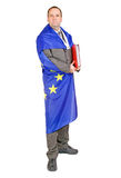 Man with the flag EU Royalty Free Stock Images