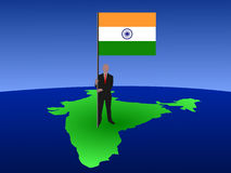 Man with flag of India Stock Photos