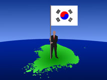 Man with flag of Korea Royalty Free Stock Photography