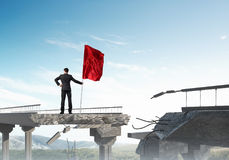 Man with flag presenting leadership concept. Royalty Free Stock Images