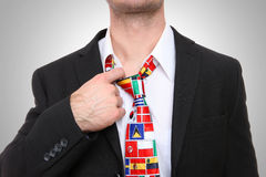 Man with Flag Tie Stock Photography