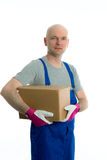 Man in flap trousers with cardboard in front of white background Stock Image