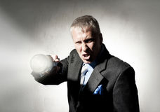 Man with flashlight Royalty Free Stock Images