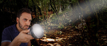 Man with a flashlight in the woods. stock images