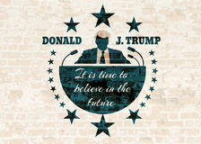 Man flat icon with Donald Trump quote. USA - October 13, 2016: An illustration of a businessman icon in flat style and the Republican Presidential Candidate vector illustration
