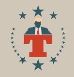 Man flat icon with Donald Trump quote. USA - October 13, 2016: A vector illustration of a businessman icon in flat style and letter T that symbolized the royalty free illustration