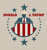 Man flat icon with Donald Trump quote. USA - October 13, 2016: A vector illustration of a businessman icon in flat style and the Republican Presidential royalty free illustration