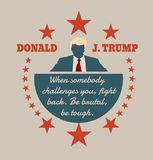 Man flat icon with Donald Trump quote. USA - October 13, 2016: A vector illustration of a businessman icon in flat style and the Republican Presidential vector illustration