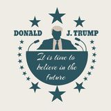 Man flat icon with Donald Trump quote. USA - October 13, 2016: A vector illustration of a businessman icon in flat style and the Republican Presidential stock illustration