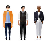 Man flat style icon people figures set: trendy, business. Three men flat style icon people figures in different views like Stock Images