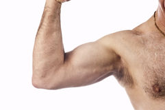Man flexing arm muscle Royalty Free Stock Images