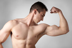 Man flexing biceps muscles Royalty Free Stock Photo