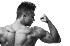 Man Flexing Muscles, Rear View. Royalty Free Stock Image
