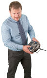 Man with flight remote controller in hands close up view on white background Royalty Free Stock Photography