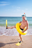 Man in flippers and mask Royalty Free Stock Photos