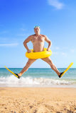 Man in flippers and mask royalty free stock photography