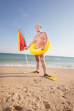 Man in flippers and mask Royalty Free Stock Image