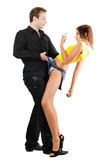 Man flirting with playful woman Royalty Free Stock Images
