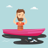 Man floating in a boat in polluted water. Royalty Free Stock Photos