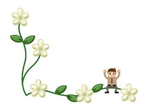 Man on Flora with Blank Space Royalty Free Stock Photography